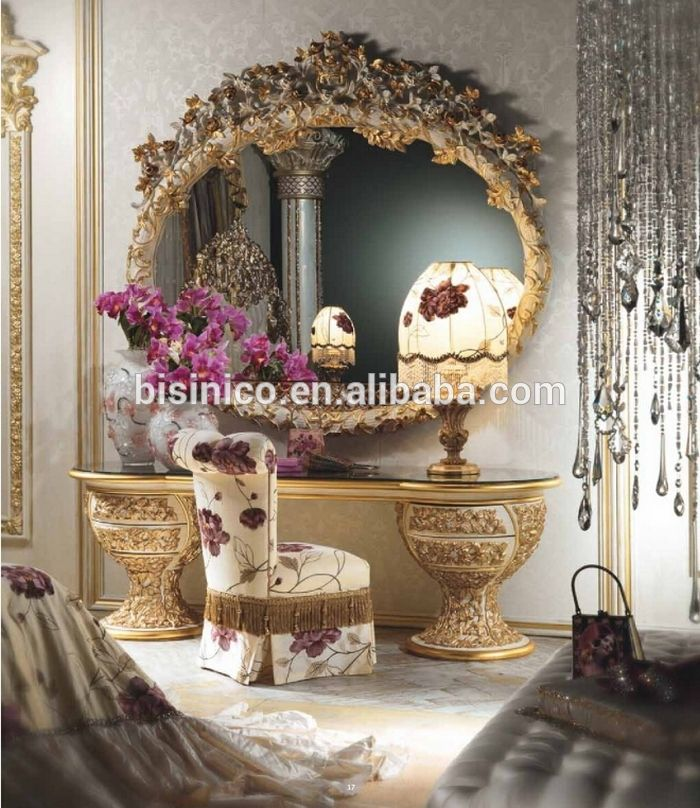Italian Furniture Vanity Dressing Table Mirror And Chair Set, Antique  Luxury Wood Carving Dressing Table