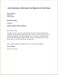 Letter informing a client about the shipment of a new phone letter informing a client about the shipment of a new phone download at http spiritdancerdesigns Image collections