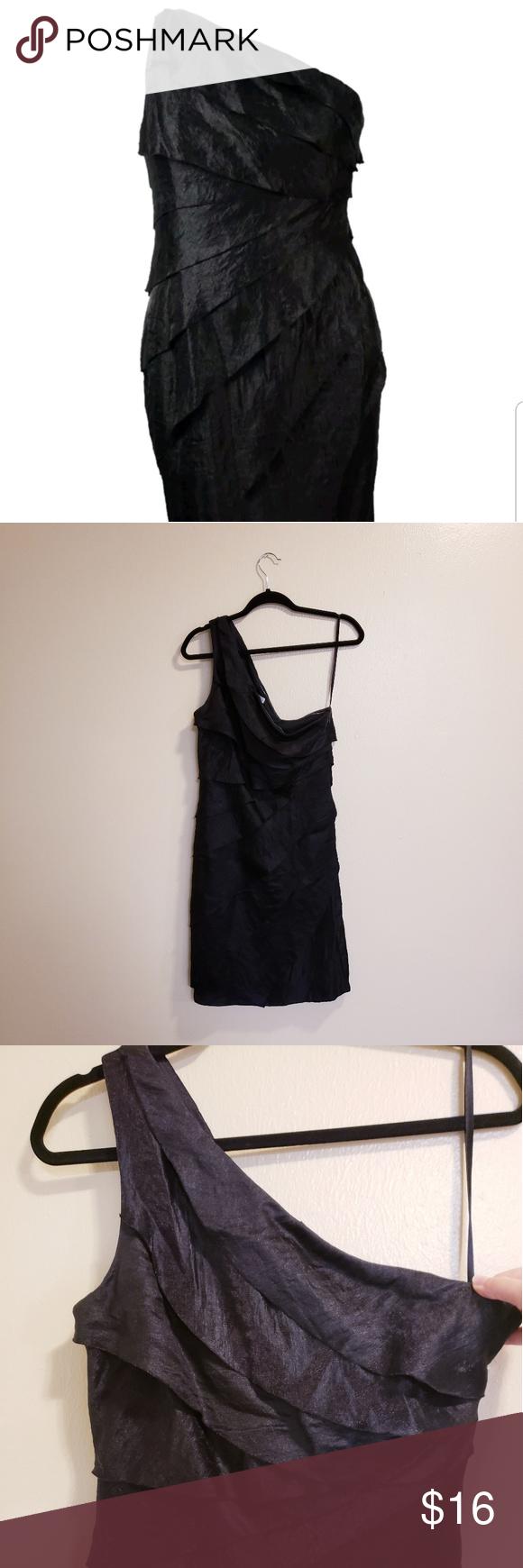 London Times Black Tiered One Shoulder Dress Preloved London Times