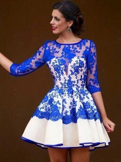 Royal Blue Homecoming Dress Scoop A-line Lace Short Prom Dress Party Dress  JK475 Item Detail 1.Style  brand new fd39c2b70