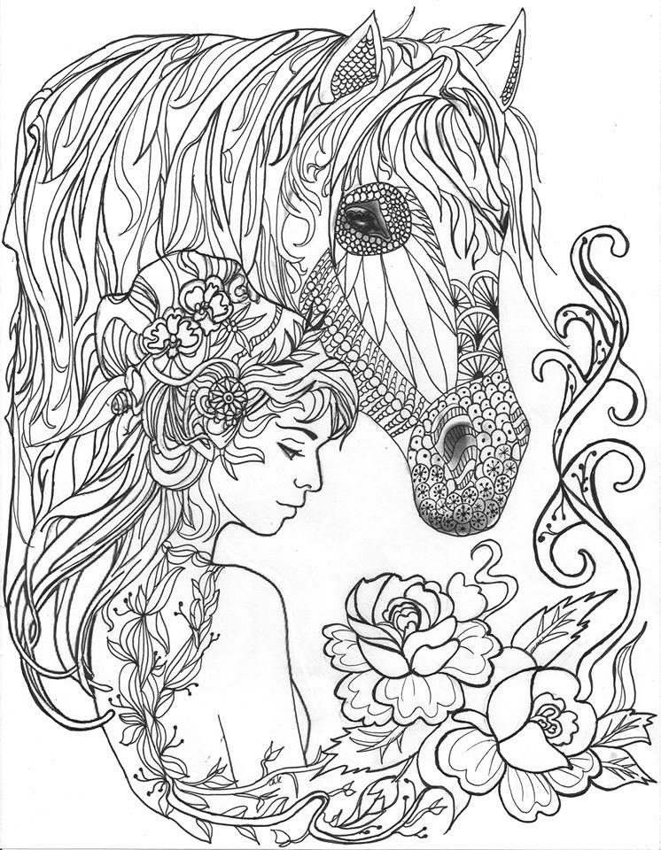 Beautiful lady and her horse colouring