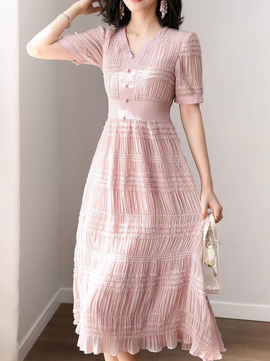3128d2d4abdc V neck Pink Midi Dress A-line Date Chiffon Shirred Dress