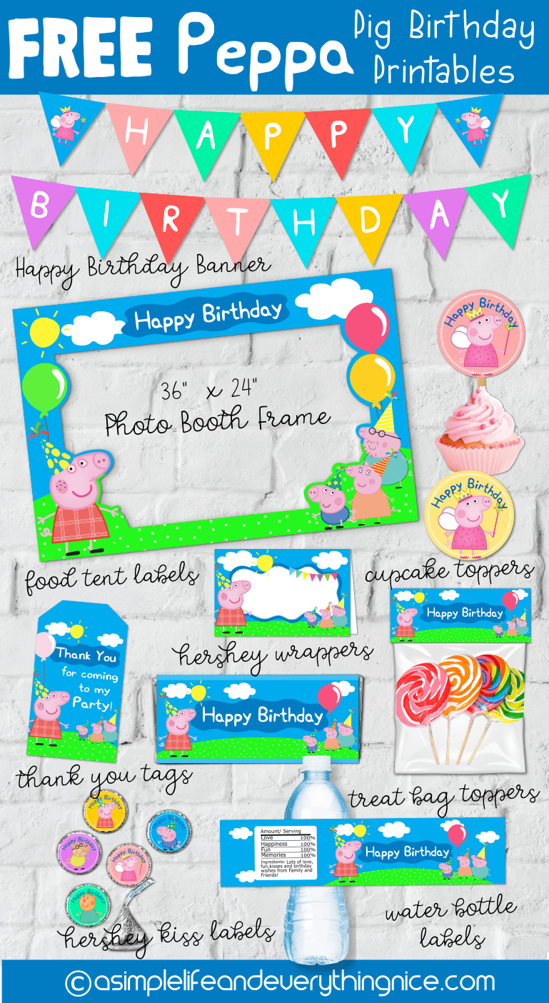 Free Peppa Pig Birthday Party Printables - A Simple Life and Everything Nice
