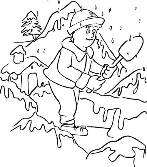 Boy Playing Snow Winter Coloring Page | Coloring pages ...