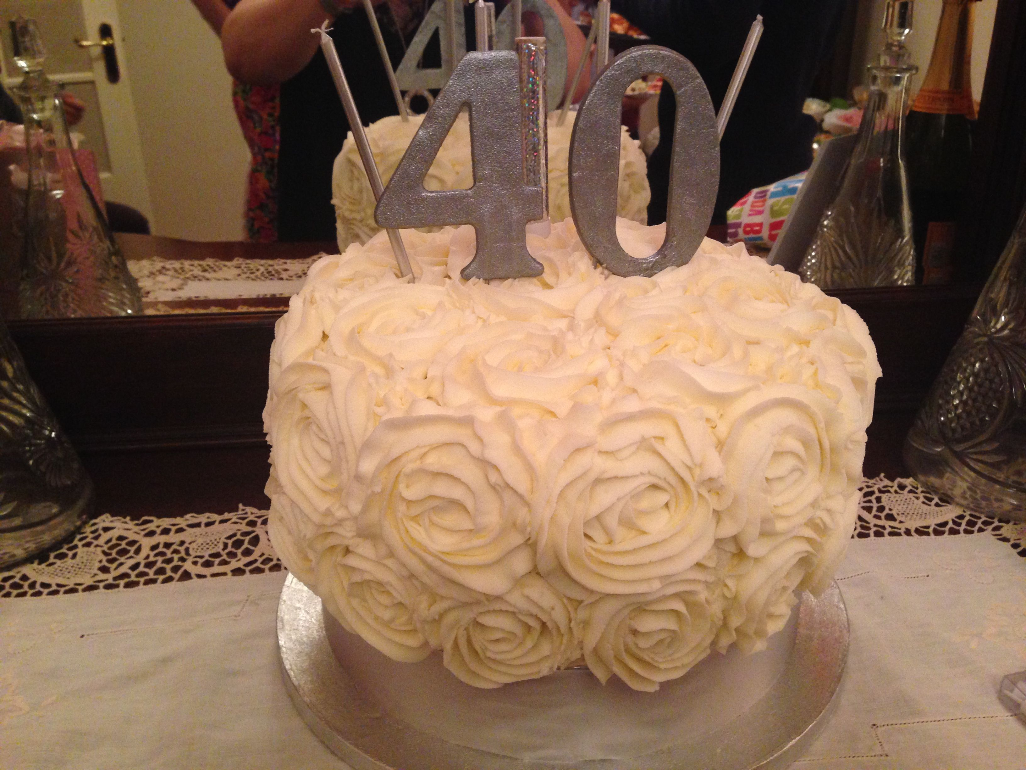 Simonas 40th Birthday Cake With Candles A Beautiful For Woman