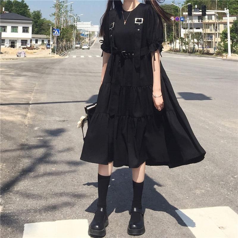 YBYR Japanisches Harajuku Damen Schwarzes Midikleid Gothic Style Hosenträger Verbandkleid Vintage Rüschen Lange Baggy Cosplay Kostüm – Kurzarm / XL