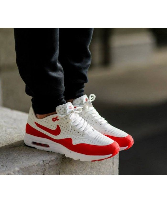 size 40 54708 8b5ac Nike Air Max 1 Ultra Moire White Red Trainers