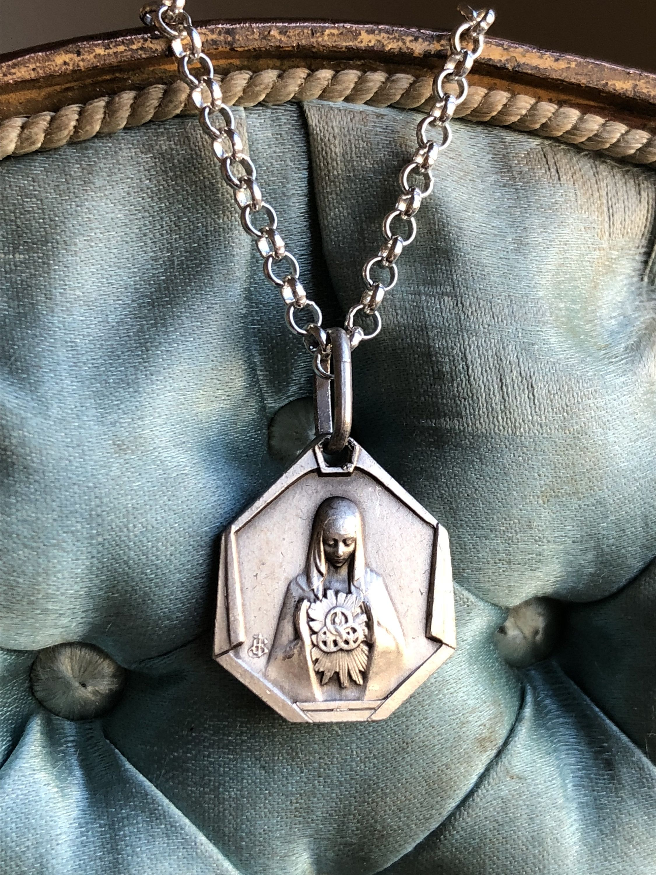 Blessed Mother Virgin Mary Medal Necklace Vintage French Silver Catholic Jewelry First Communion Gift Amulet Talisman Religious By Sacredbarcelona