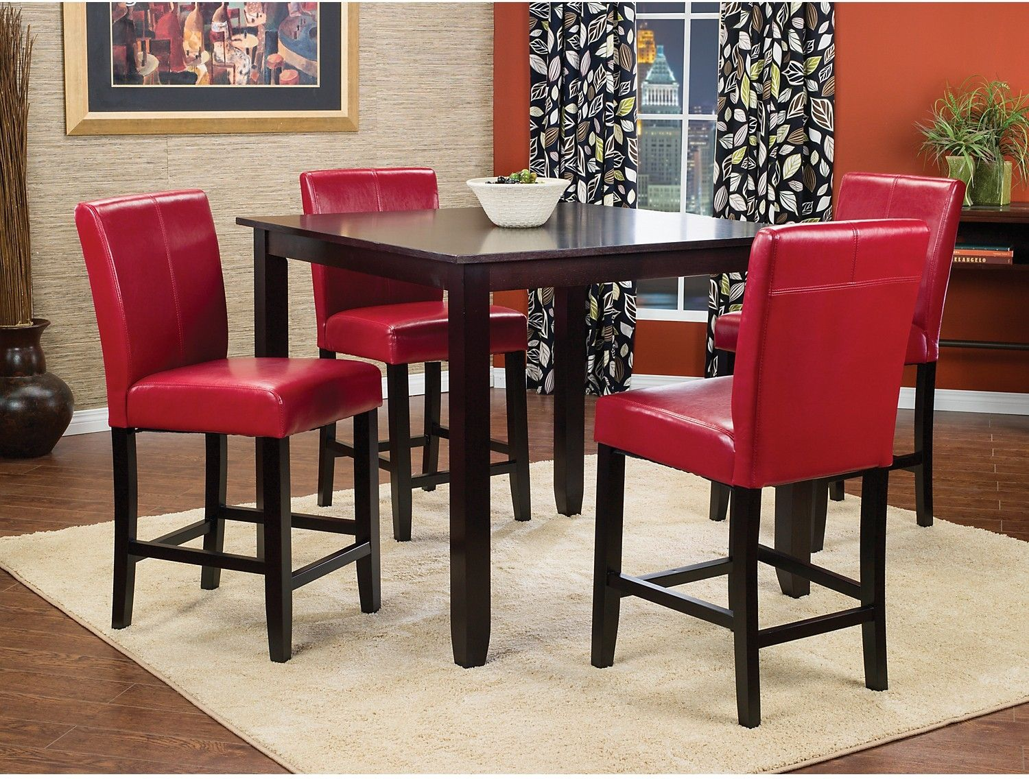 Red Counter Height Dining Chairs Yoga Ball As Desk Chair Nicole 5 Piece Package With
