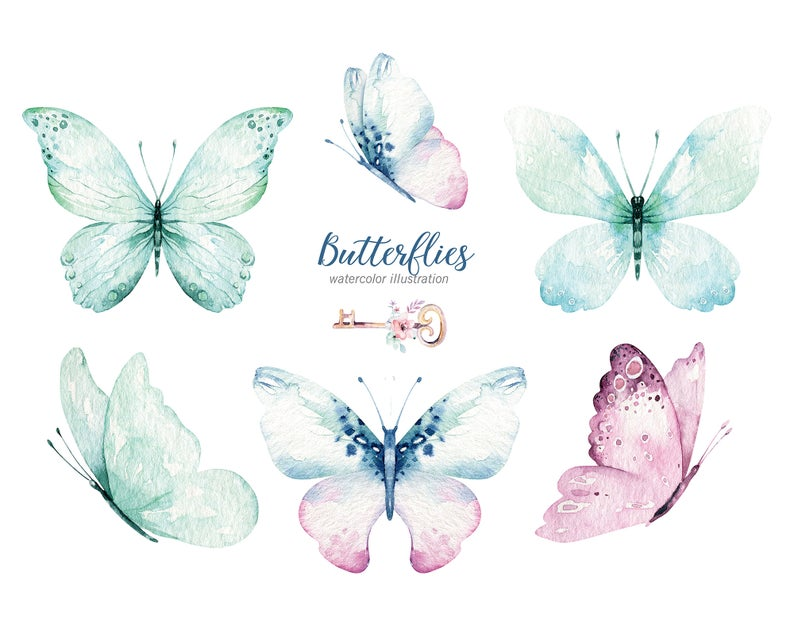 Watercolor Butterfly Clipart Watercolor Butterfly Individual Png Files Hand Painted Vibrant Bohemian Clipart In 2021 Butterfly Watercolor Butterfly Clip Art Clip Art