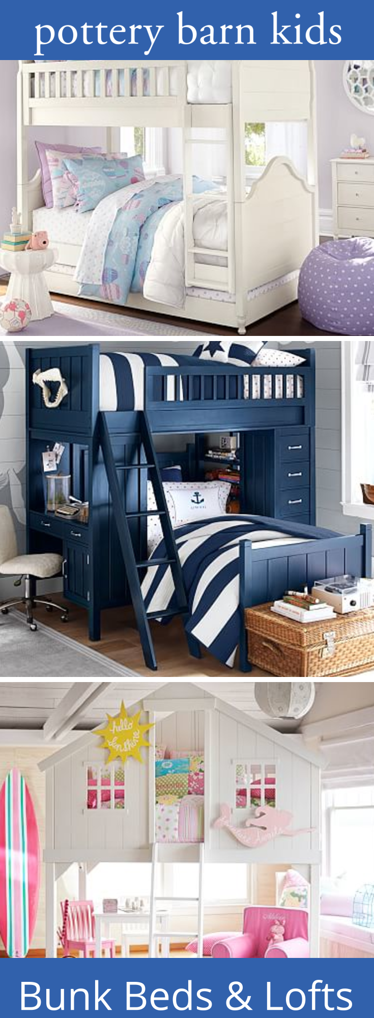 Pottery barn loft bed with desk  Bunk Beds u Lofts  Girls room  Pinterest  Bunk bed Lofts and Room