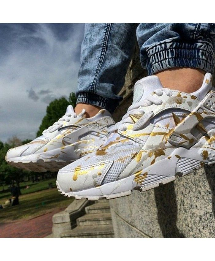online retailer cafae df3bf Nike Air Huarache Rxl Custom Gold White Trainer Very bouncing, very  breathable, do not feel uncomfortable after wearing the feet.