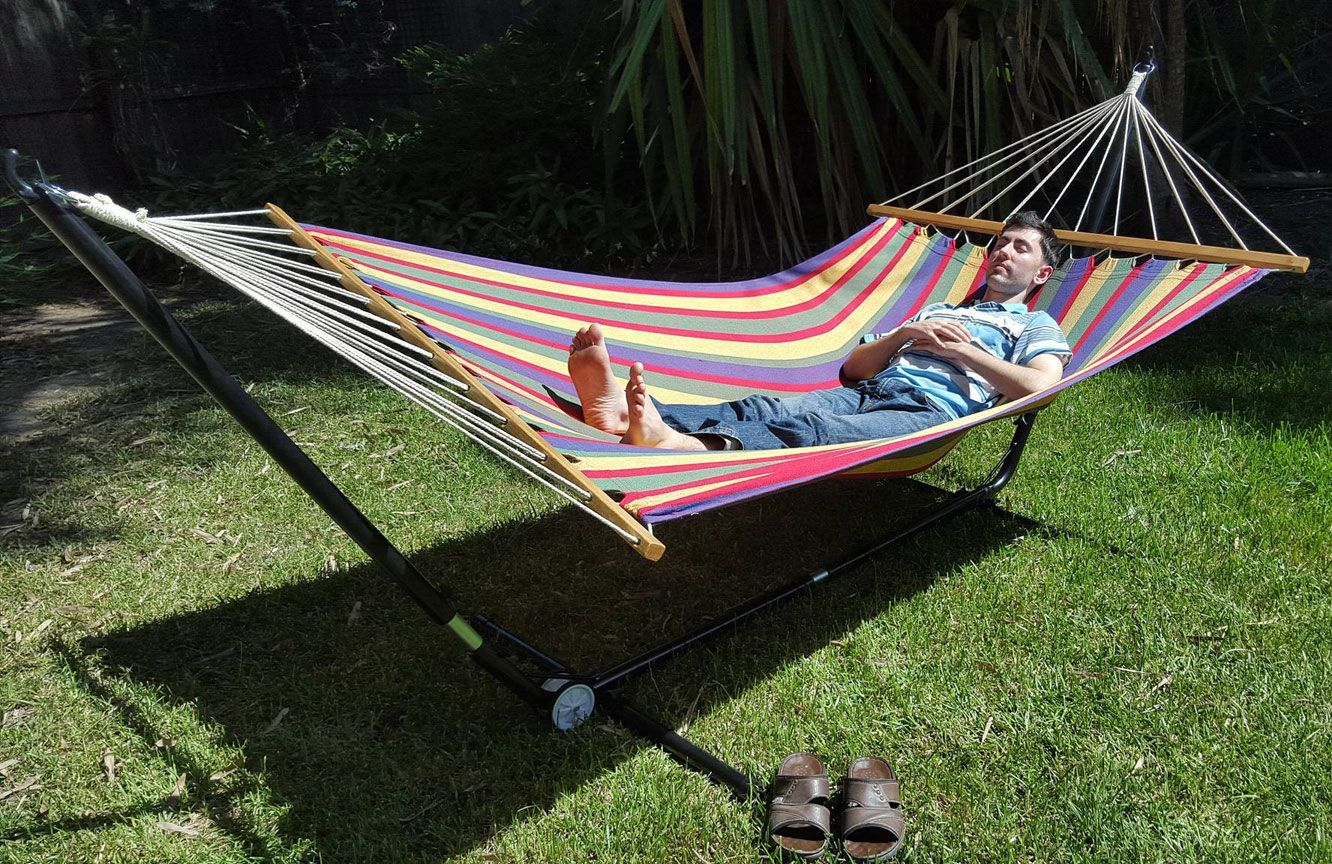 x large free standing hammock  bright multi coloured canvas hammock with adjustable stand   heavenly x large free standing hammock  bright multi coloured canvas      rh   pinterest