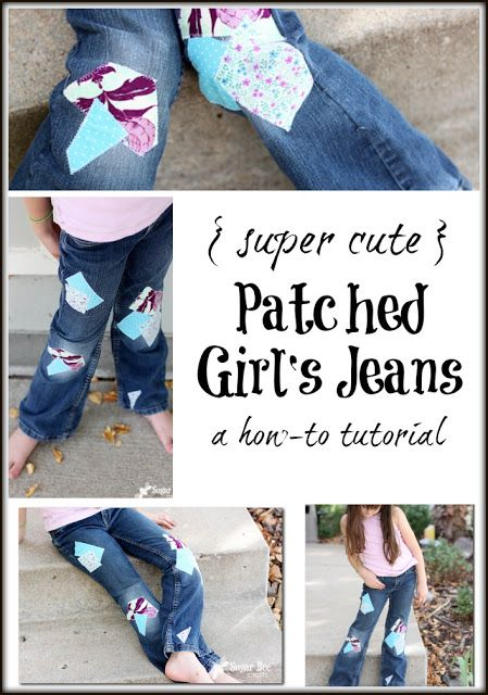 I don't have a girl, but this is still a great idea | Sugar Bee Crafts: How to Patch Girl's Jeans - super cute! (with tutorial)