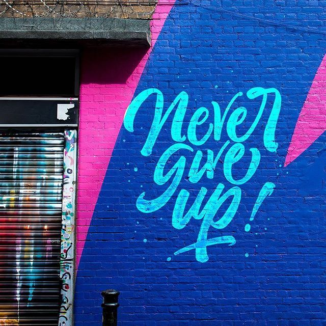 Never give up by @stan_majano - typography & lettering design love ❤️ - typostrate - typostrate.com