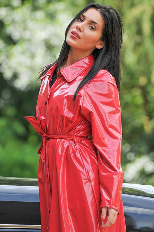 Red PVC Raincoat - http://fashionrainwear.co.uk/ | COSAS PARA ...