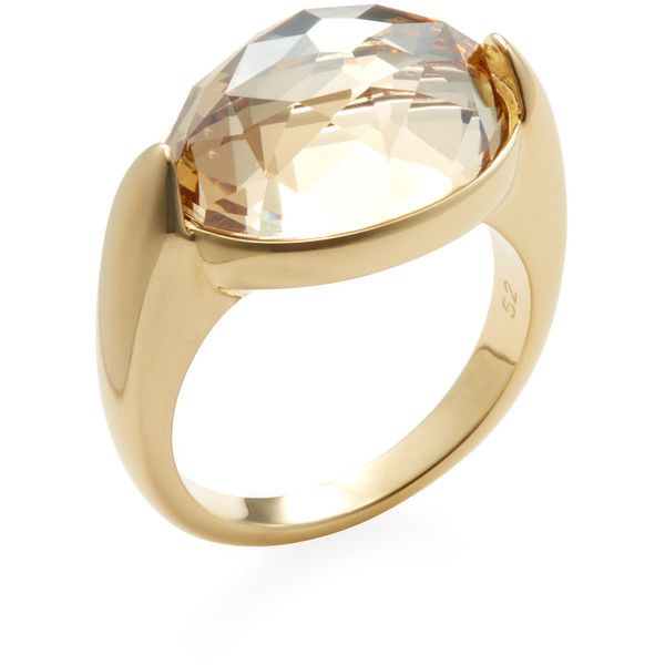 Swarovski Women s Vanilla Crystal Single Ring - Gold - Size 52 ( 89) ❤  liked on Polyvore featuring jewelry 670e3f0180b0
