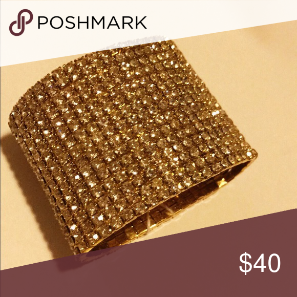 Diamond (cuz's) cuff bracelet Gold colored all the way around cz studded cuff Jewelry Bracelets