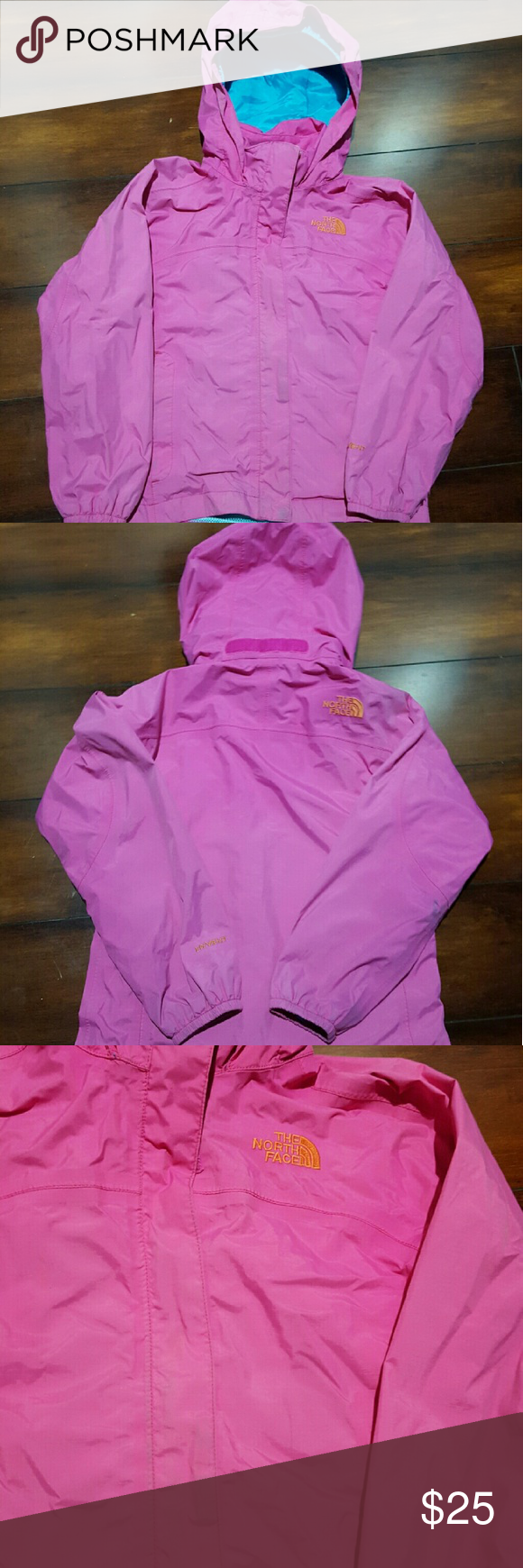 Girls North Face rain coat, size XS GIRLS Pink North Face rain coat, size XS.   Please see pics of one stain on sleeve and slight Discoloration by velcro. North Face Jackets & Coats Raincoats