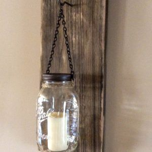 Items Similar To Rustic Mason Jar Wood Wall Sconce Distressed Weathered  Brown/Reclaimed Wood Sconce/Rustic Wood Candle Wall Sconce/Mason Jar Candle  Sconce ...