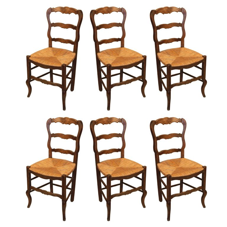 French Country Kitchen Chairs: Set Of 6 French Country Chairs France 1900
