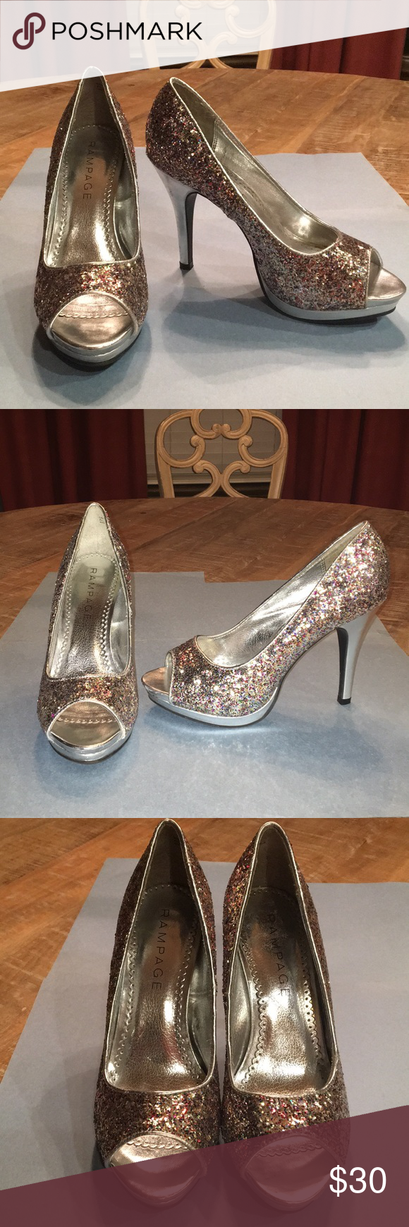 Glittery dressy heels silver and iridescent brand name these