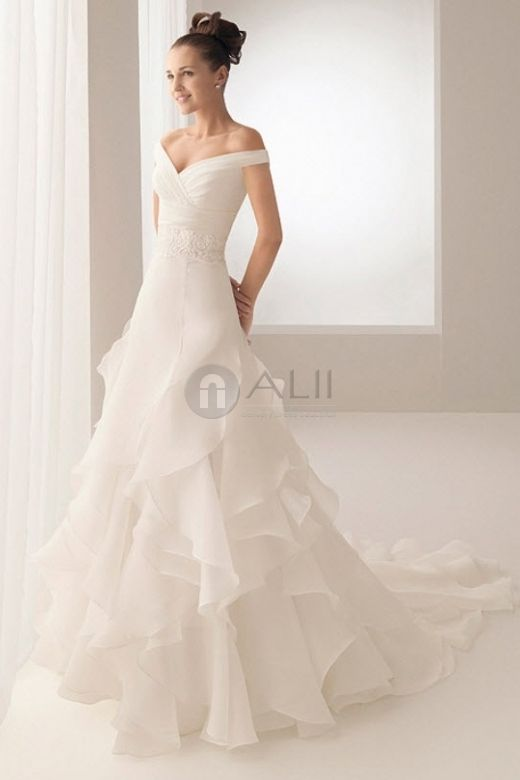 Dropped Waist Short Sleeve Off The Shoulder Organza A Line Wedding Dress