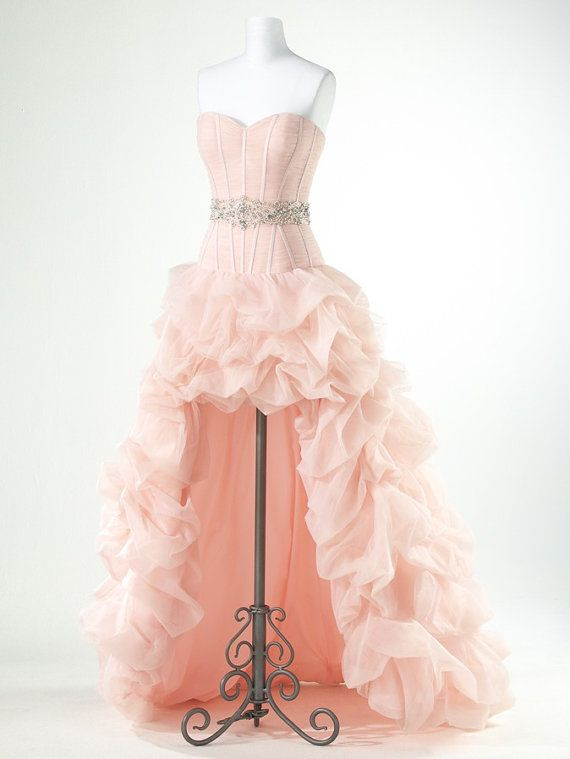 High Low Prom Dresses,Organza Prom Dress,Pink Prom Gown,Vintage Prom ...