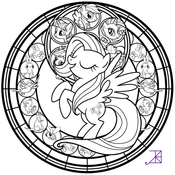 Stained Glass Fluttershy Line Art By Akili Amethyst