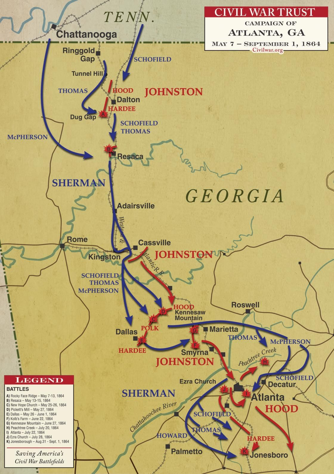 Atlanta Campaign | Civil War Battle Maps | American Civil War, War on