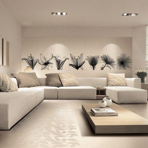 A Black White Decorative Photo Tile With Floral Image By Porcel Thin Living Room Tiles Room Tiles Design Lounge Design