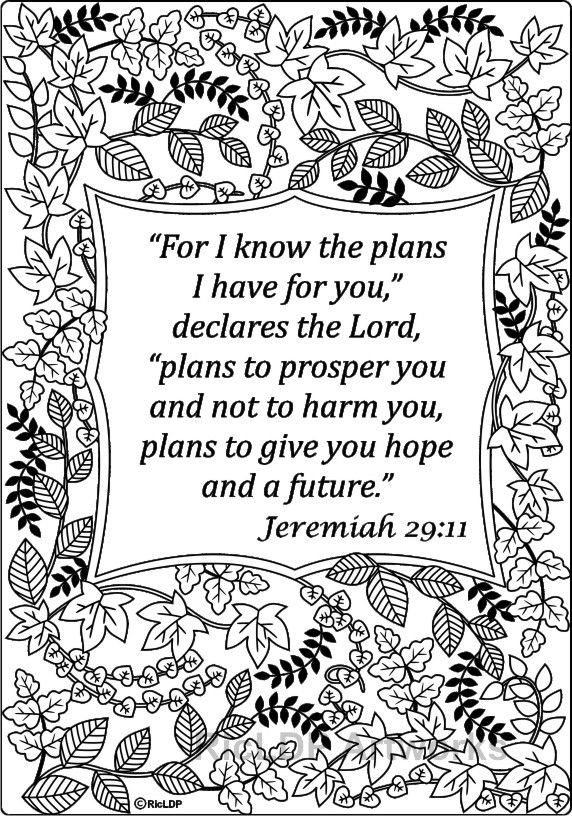 For I Know The Plans Have You Jeremiah 2911 Biblecoloring Ricldp