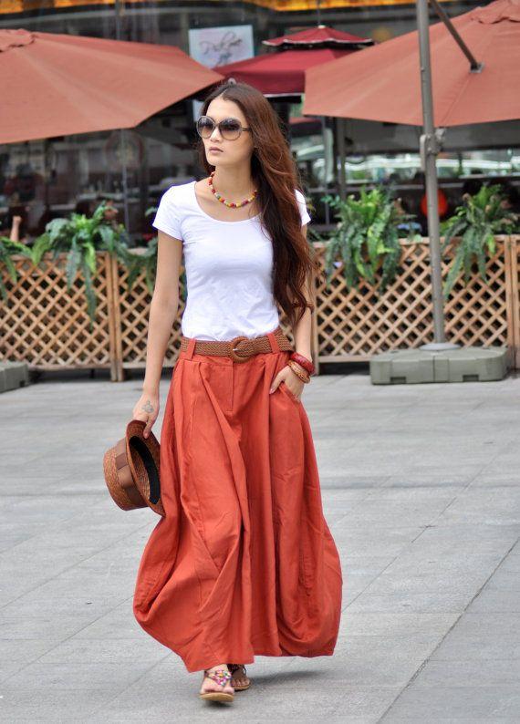Orange/Coral linen maxi skirt #PinPantone | Tangerine Tango ...