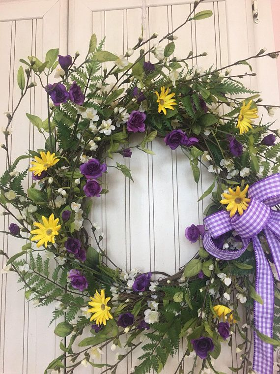 Photo of Purple & White Forsythia Wreath, Purple and Yellow Wreath  for front Door, Summer Wreath, All Season Wreath, Purple and Gold Floral Wreath