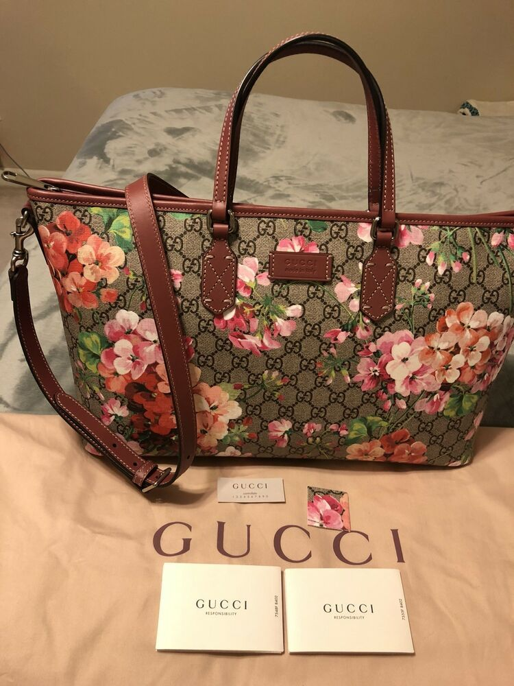 AUTH BN Gucci Limited Edition Floral Tote Shoulder Travel