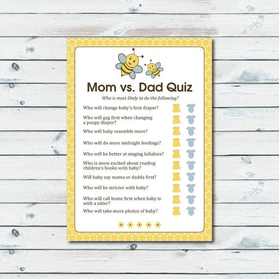 mom vs dad quiz baby shower game printable baby shower game bee