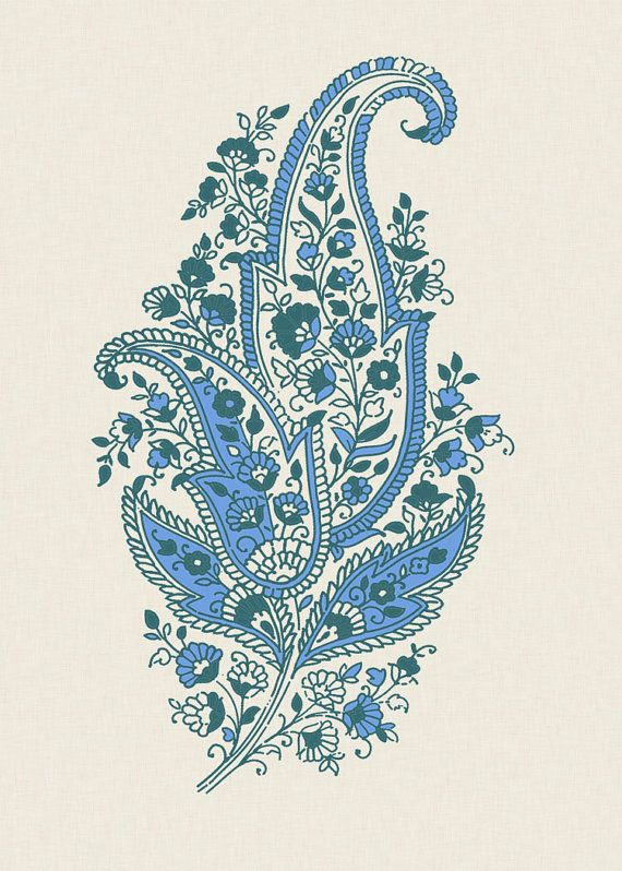 Paisley Motif – Blue – Indian Wedding Invitations