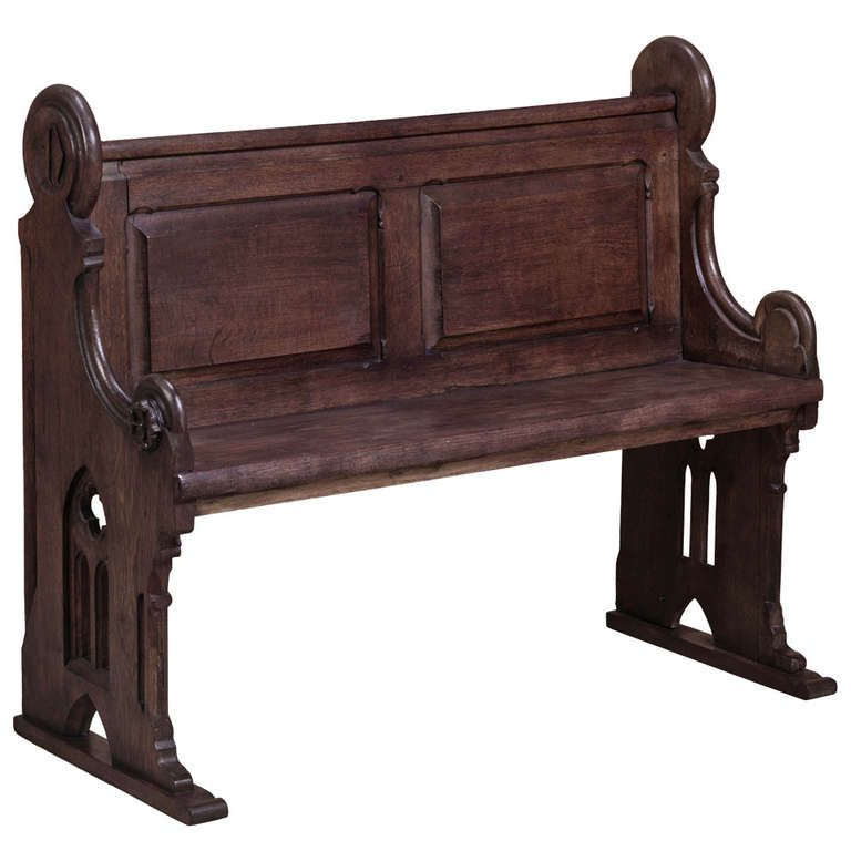 1stdibscom antique french gothic church pew finished in black lacquer at the foot - Church Pews For Sale