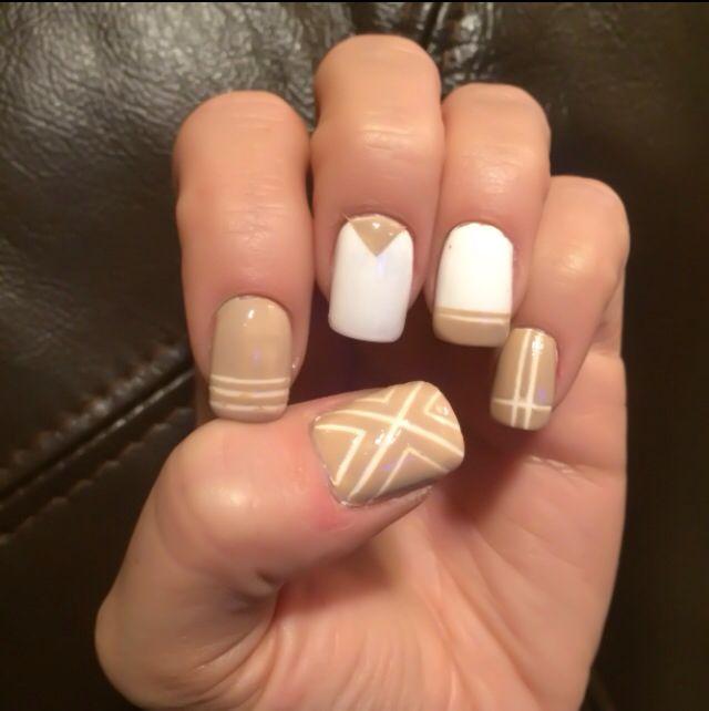 White & tan nail art design Tan Nail Designs, Tan Nails, Wedding Nails, - White & Tan Nail Art Design Nails Pinterest Nails, Tan Nails