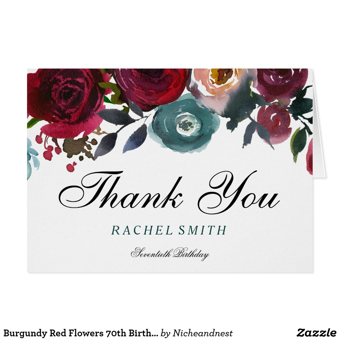 Burgundy red flowers 70th birthday thank you happy birthday burgundy red flowers 70th birthday thank you card burgundy red flowers 70th birthday thank you see matching collection in niche and nest storee custom izmirmasajfo
