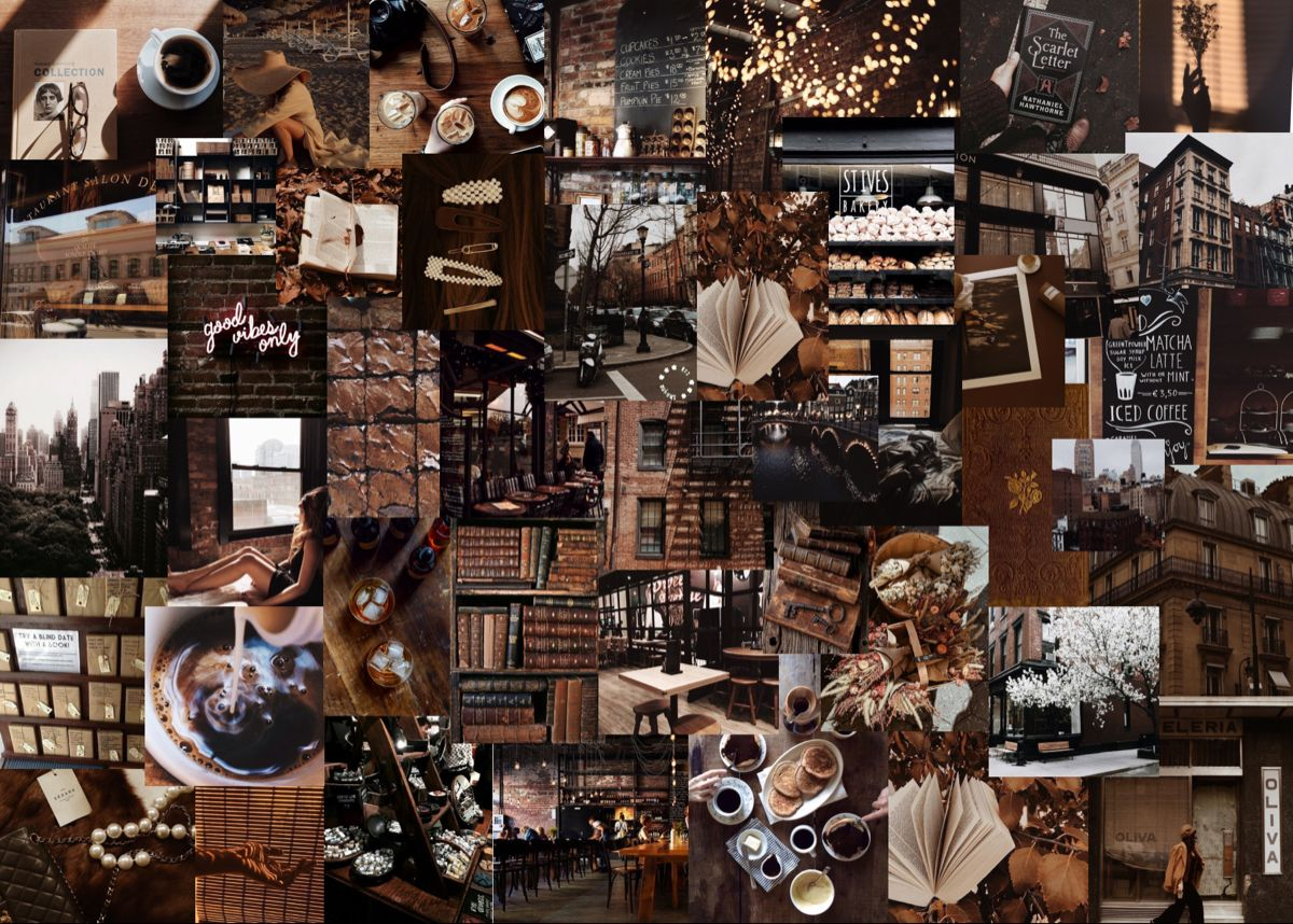 Check out our dark academia books selection for the very best in unique or. Custom Aesthetic Collage Wallpaper, Custom Aesthetic