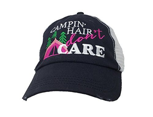Campin  Hair Don t Care Distressed Worn Look Mesh Trucker Hat b87a9284dc0
