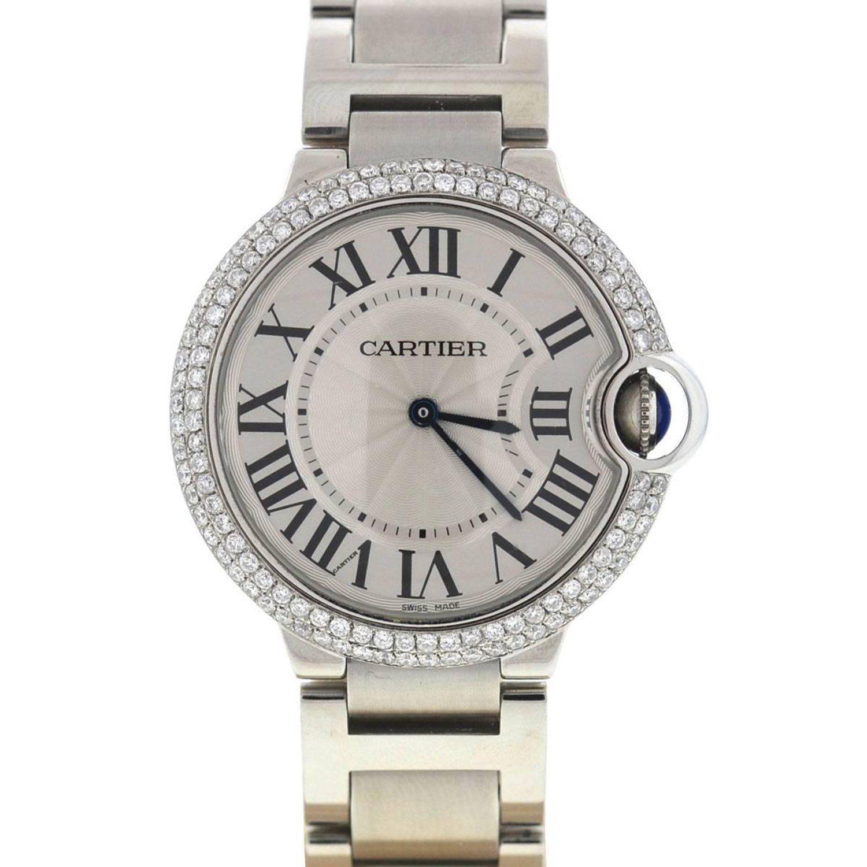 Cartier 3005 Ballon Bleu Stainless Steel Diamond Bezel Watch With