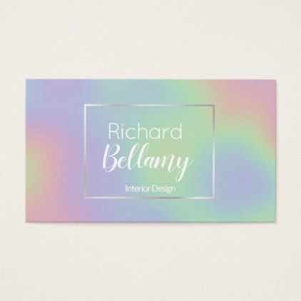 Modern holographic rainbow metal business card modern holographic rainbow metal business card script gifts template templates diy customize personalize special reheart Image collections
