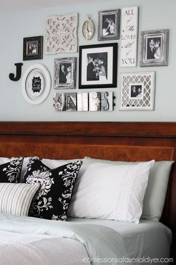 20 awesome headboard wall decoration ideas gallery wall - Bedroom wall decor ideas ...