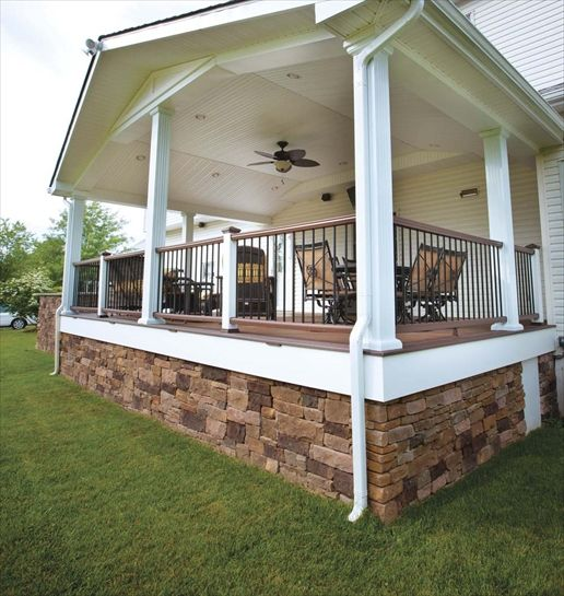 Drystack cast veneer stone in under the porch love this for Under porch ideas