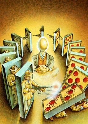 Dominoes as a metaphor for unending gangland wars.