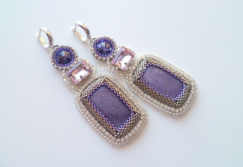Купить Серьги 008 - бледно-сиреневый, серьги ручной работы, серьги с камнями, серьги с кристаллами