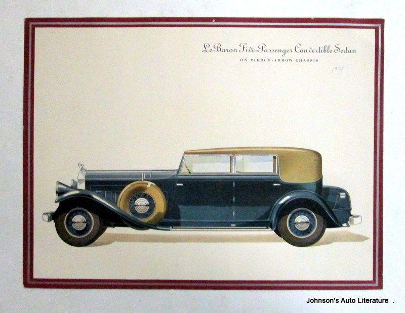 Pierce Arrow 1931 Lebaron Custom Body Portfolio Toy Car Sedan Literature