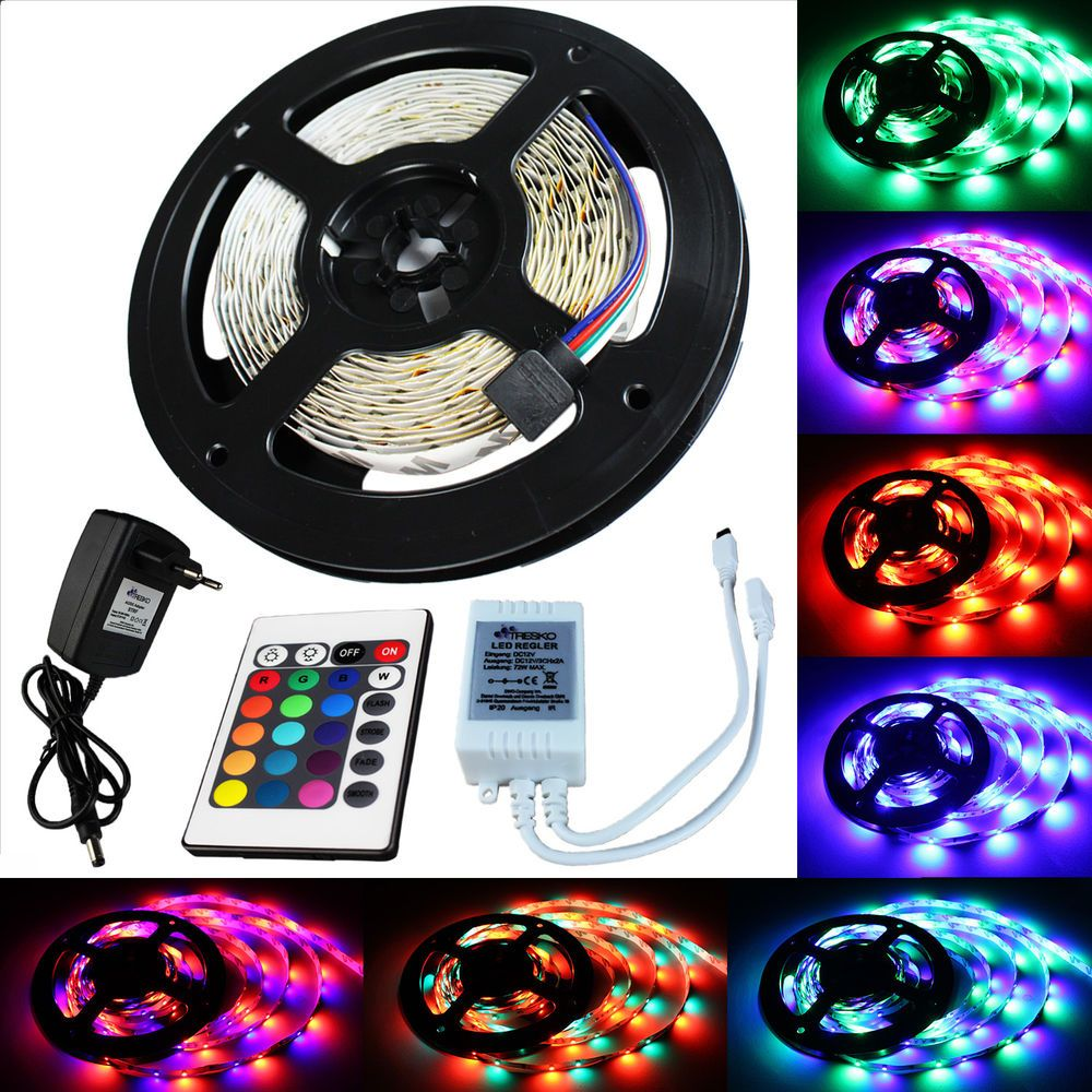 details zu 5 m rgb led strip leiste streifen band lichter smd lichterkette lichtband 3528. Black Bedroom Furniture Sets. Home Design Ideas